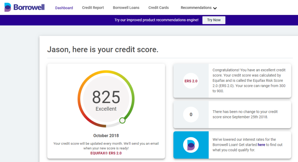 Borrowell Free Credit Score - 825 is Excellent!