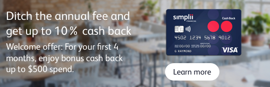 Simplii Financial Cash Back Visa Card - 10% offer